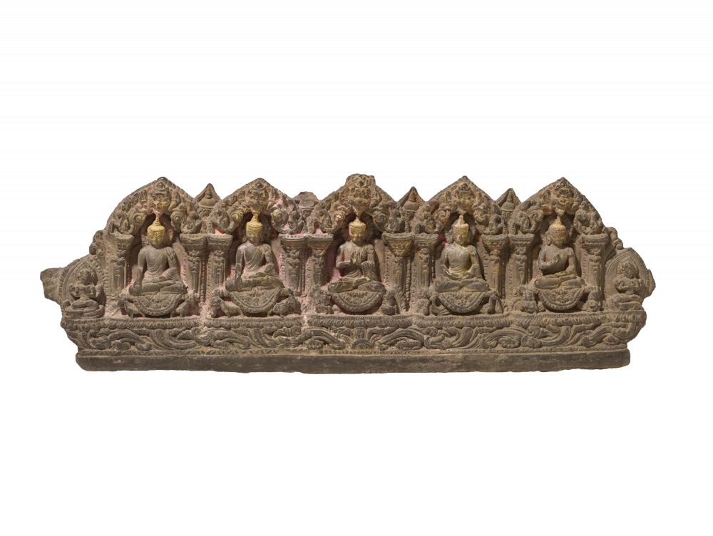 Steinrelief der fünf Transzendenten Buddhas