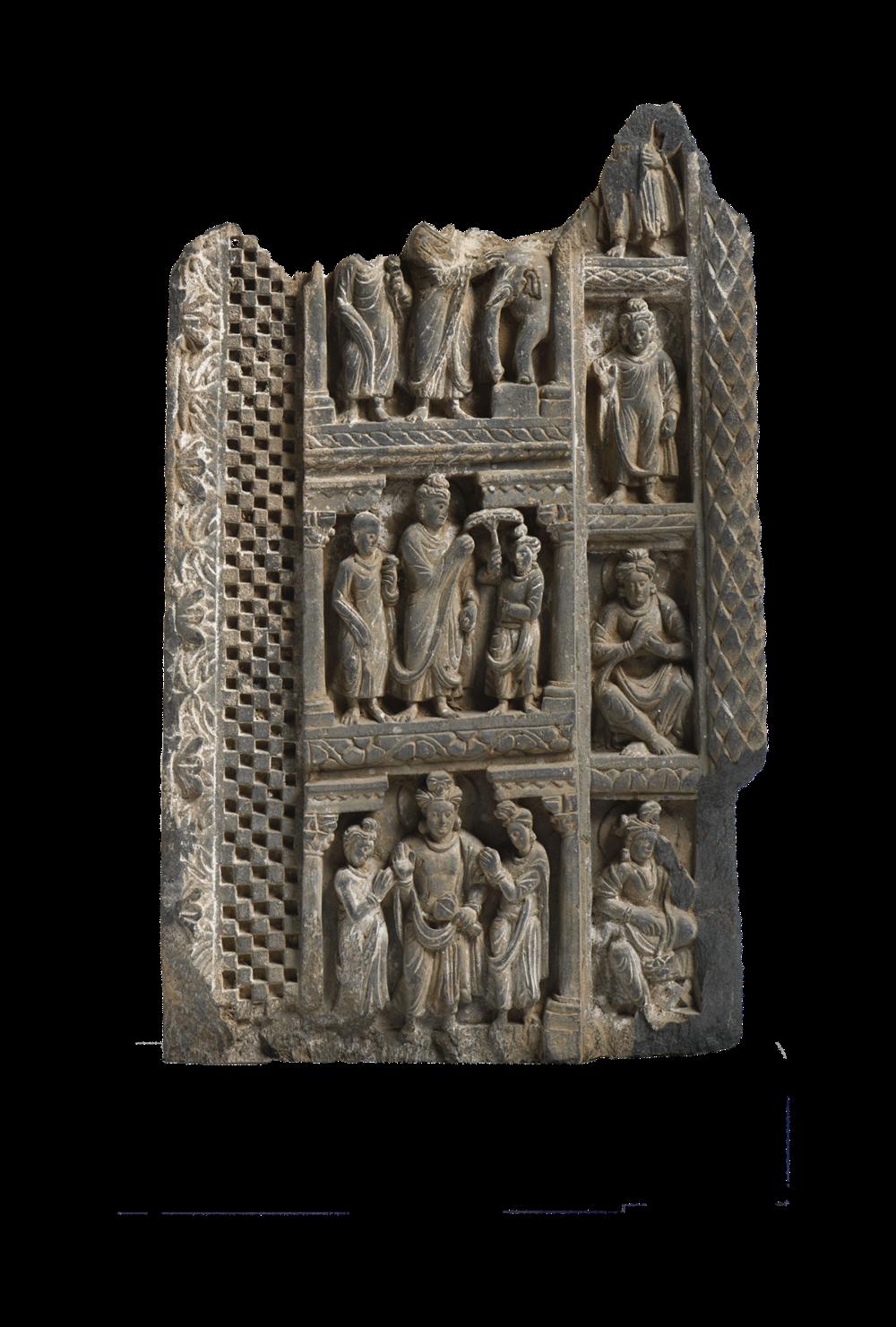 Relief mit Szenen aus dem Leben des Buddhas
