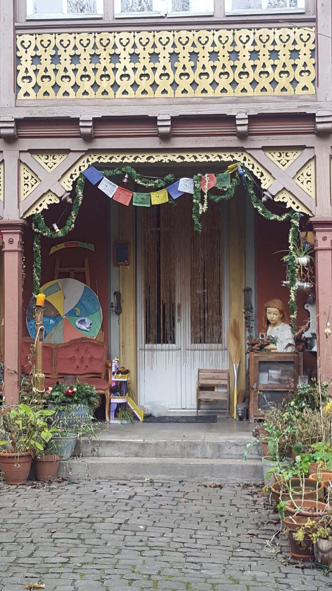 Buddhist prayer flags on a house, Bern, Switzerland