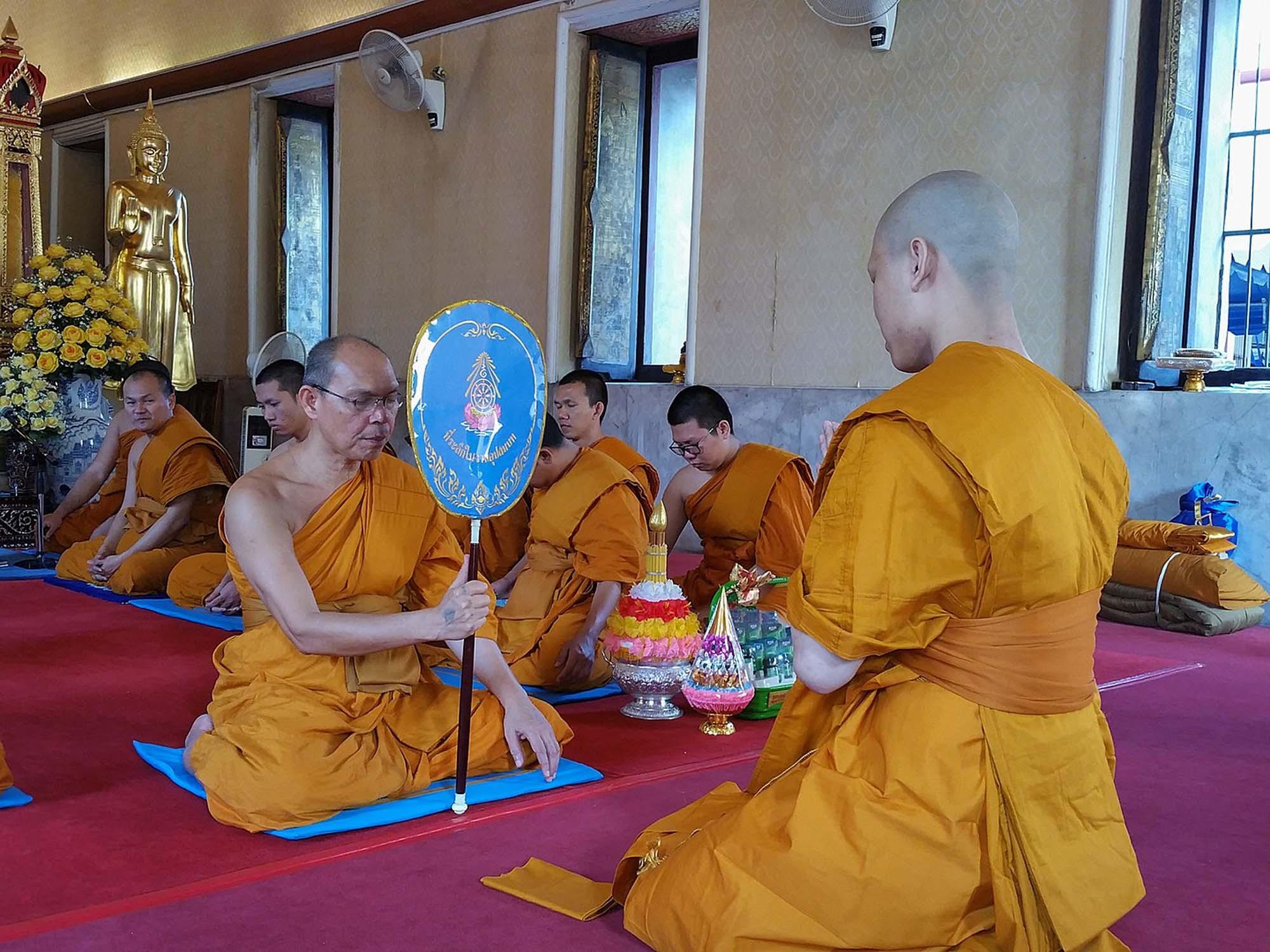 Ordination of a young man as a monk, Wat Yannawa Temple, Bangkok, Thailand