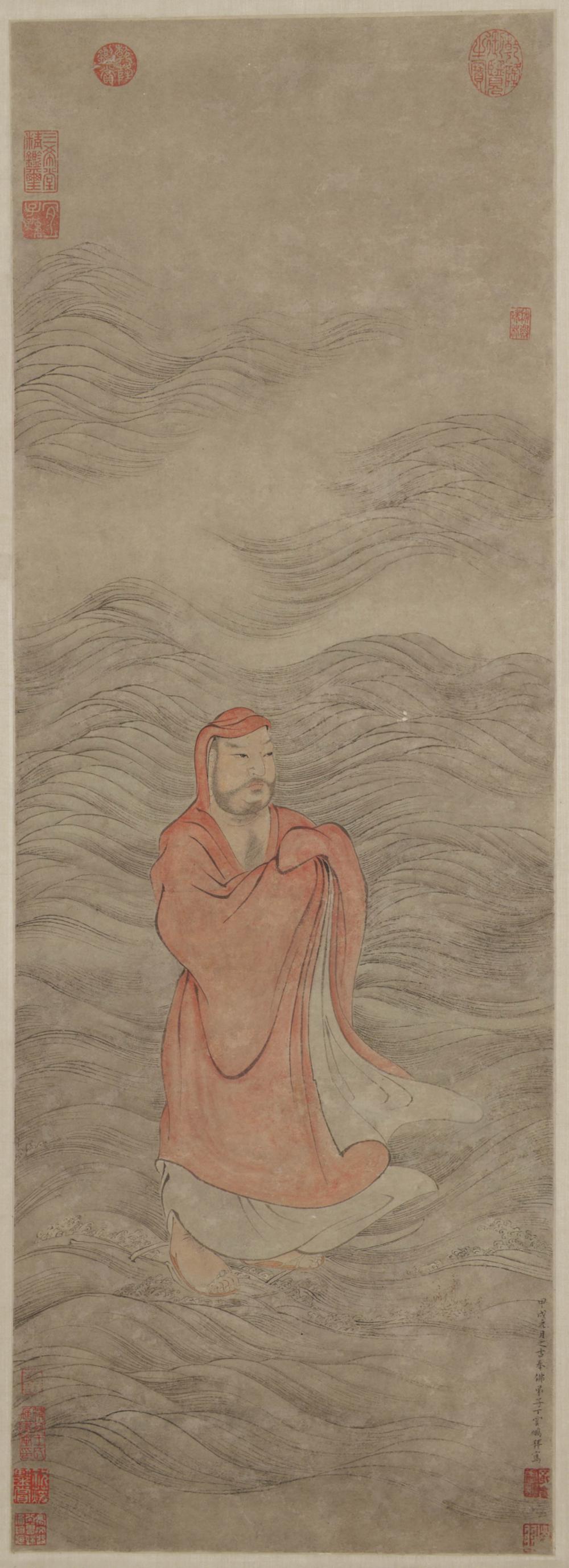 Bodhidharma überquert den Yangzi-Fluss auf einem Schilfgras