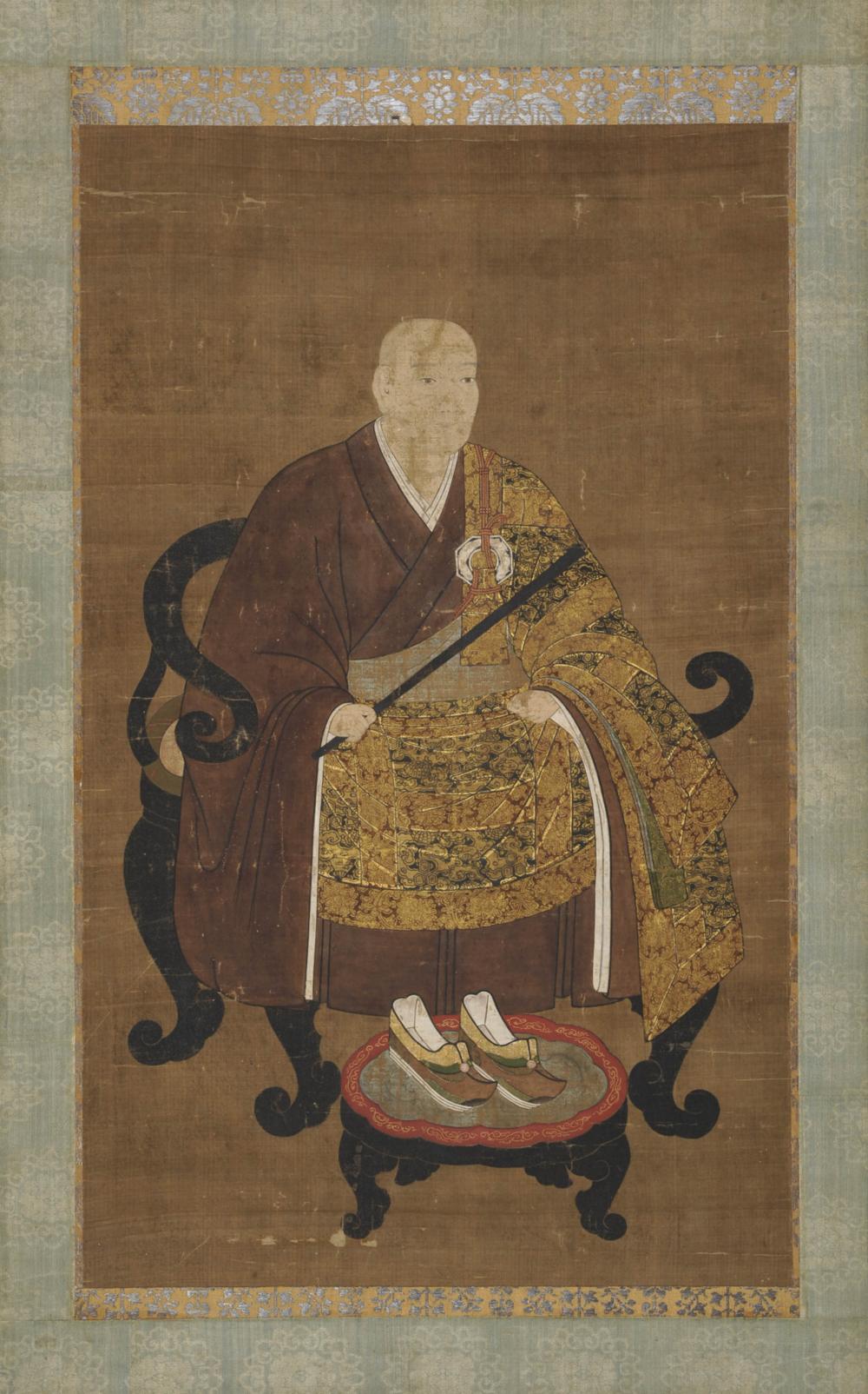 Bildnis eines Zen-Priesters im goldenen Übergewand