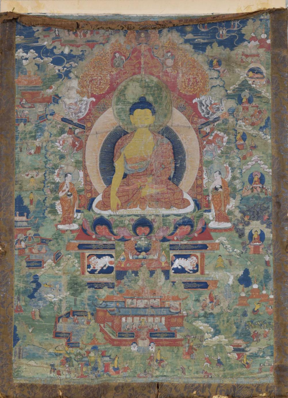 Buddha Shakyamuni mit Szenen aus seinem Leben