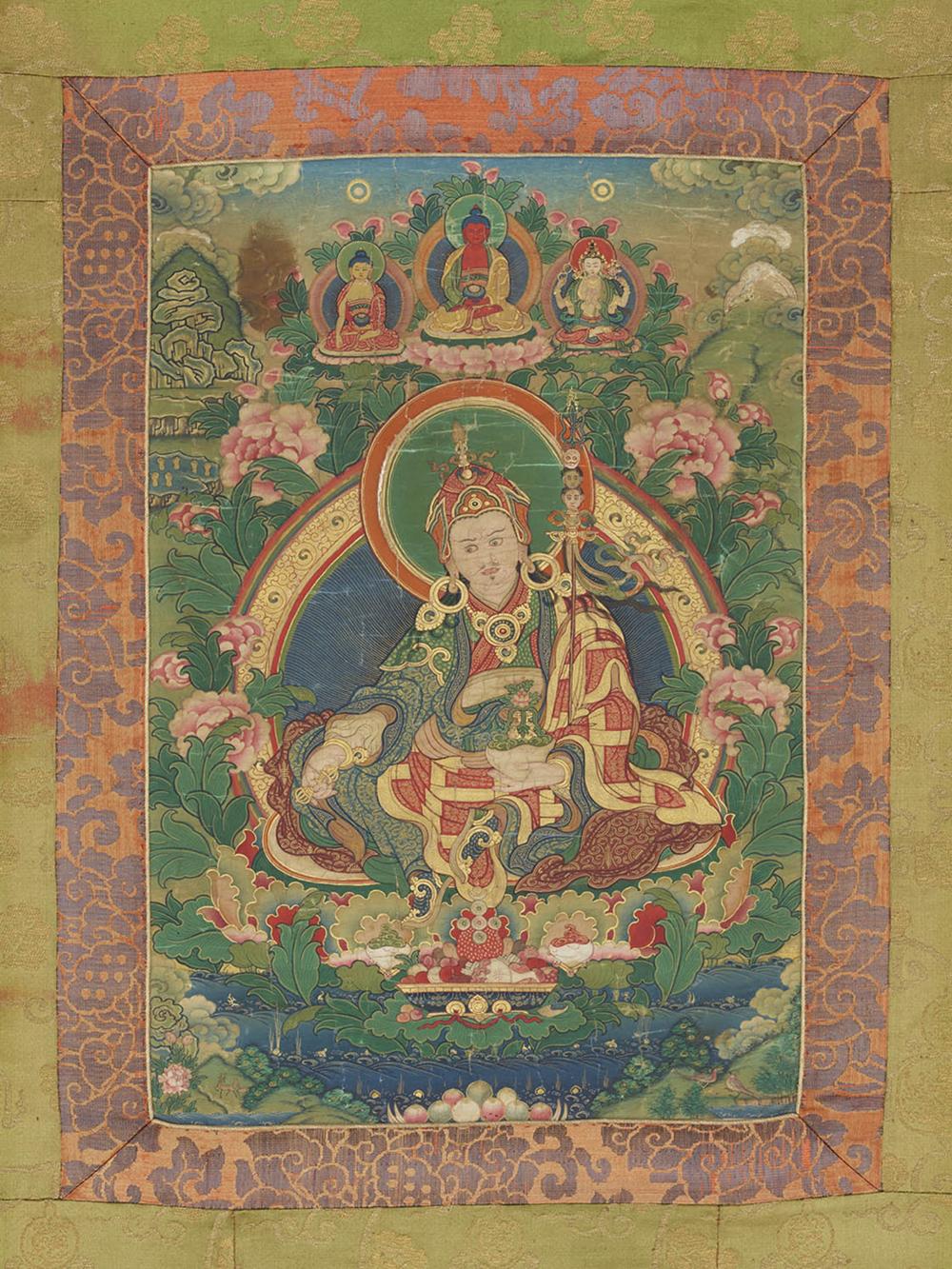 Padmasambhava mit seinen 25 tibetischen Schülern  Serie von 7 Thangkas
