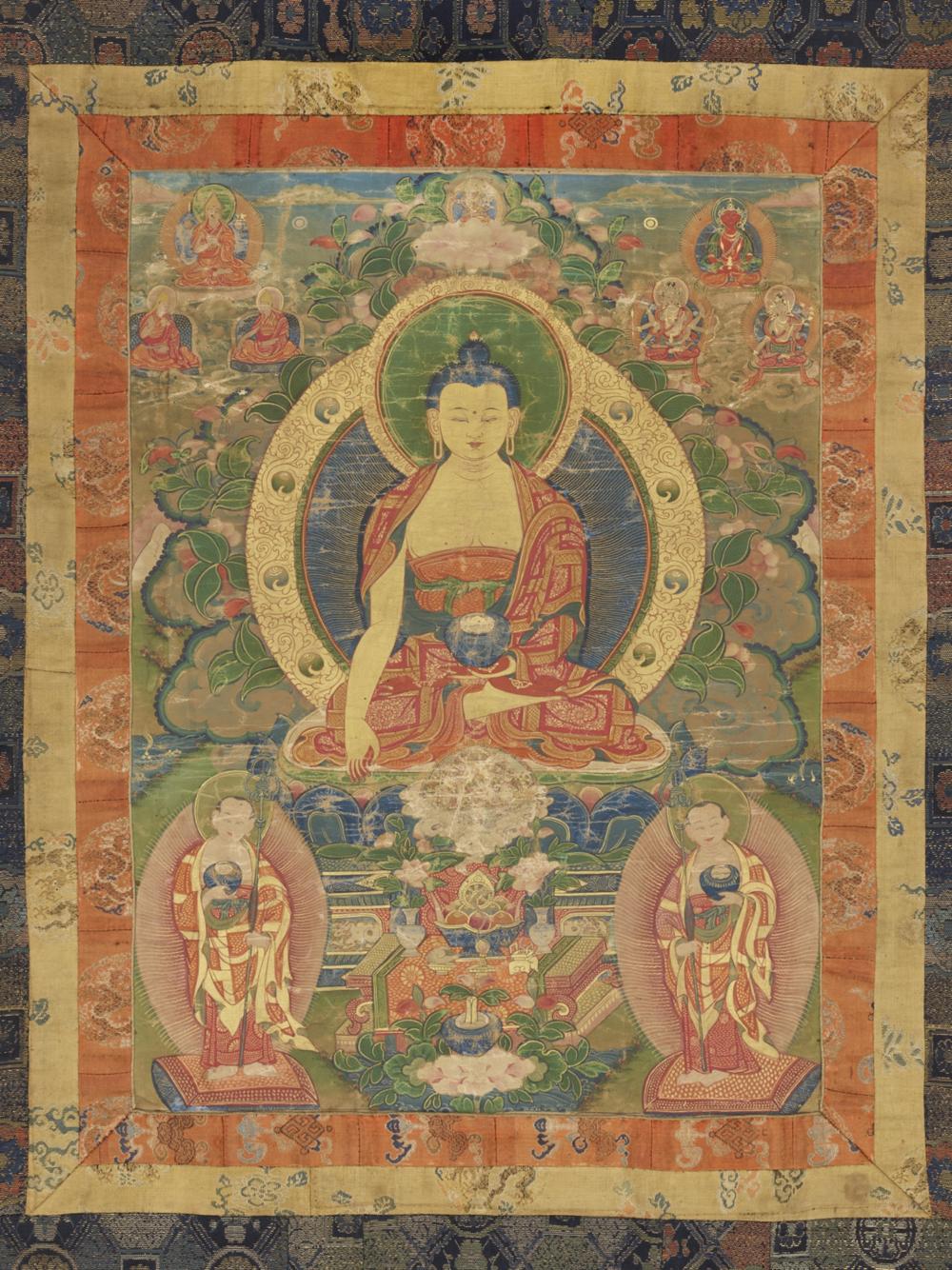 Buddha Shakyamuni  Aus einer Serie von 7 Thangkas mit Buddha Shakyamuni und den 18 Arhats