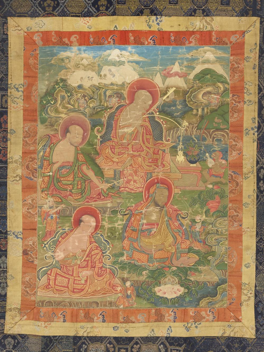 Die Arhats Vanavasin, Angaja, Kalika und Ajita  Aus einer Serie von 7 Thangkas mit Buddha Shakyamuni und den 18 Arhats