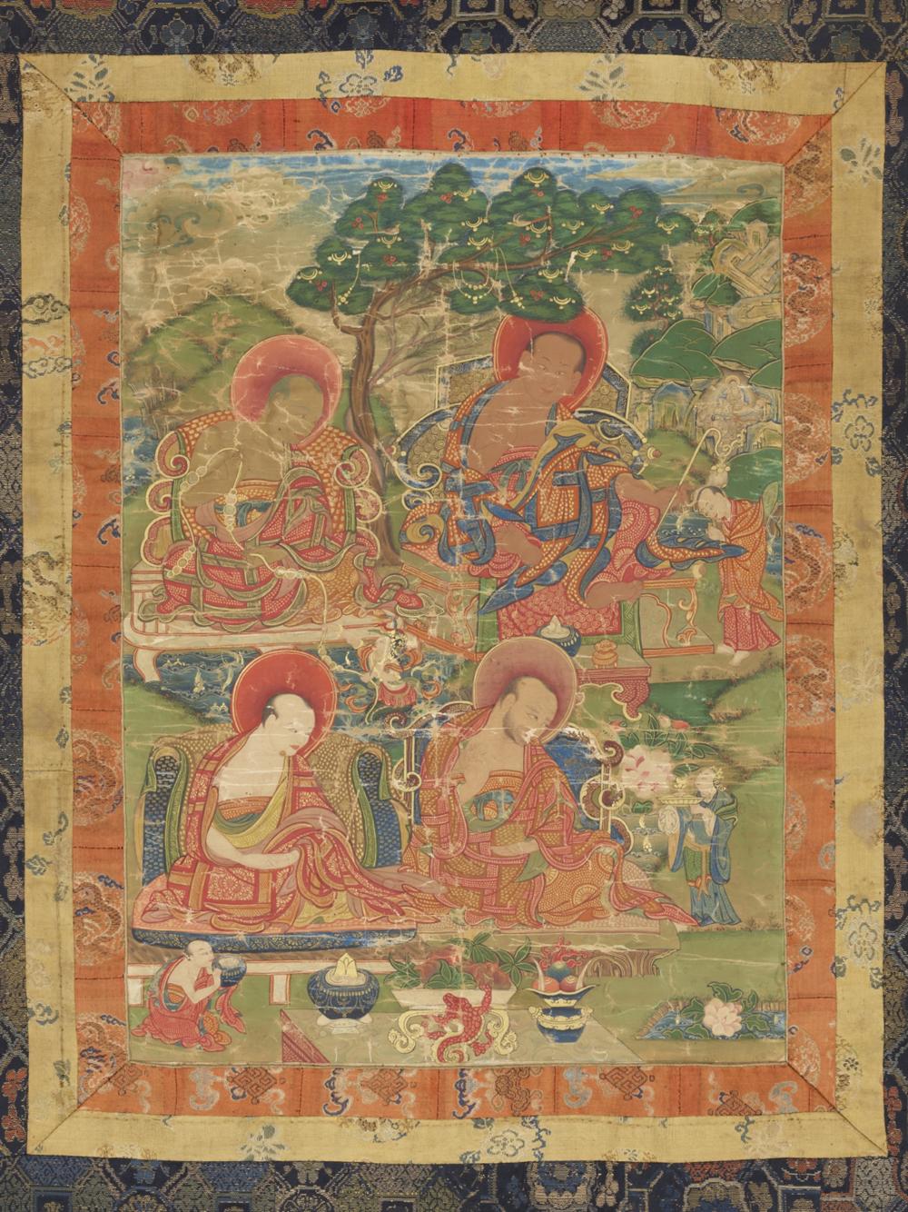 Die Arhats Kanakavasta, Vajriputra, Kanaka Bharadvaja und Bhadra  Aus einer Serie von 7 Thangkas mit Buddha Shakyamuni und den 18 Arhats