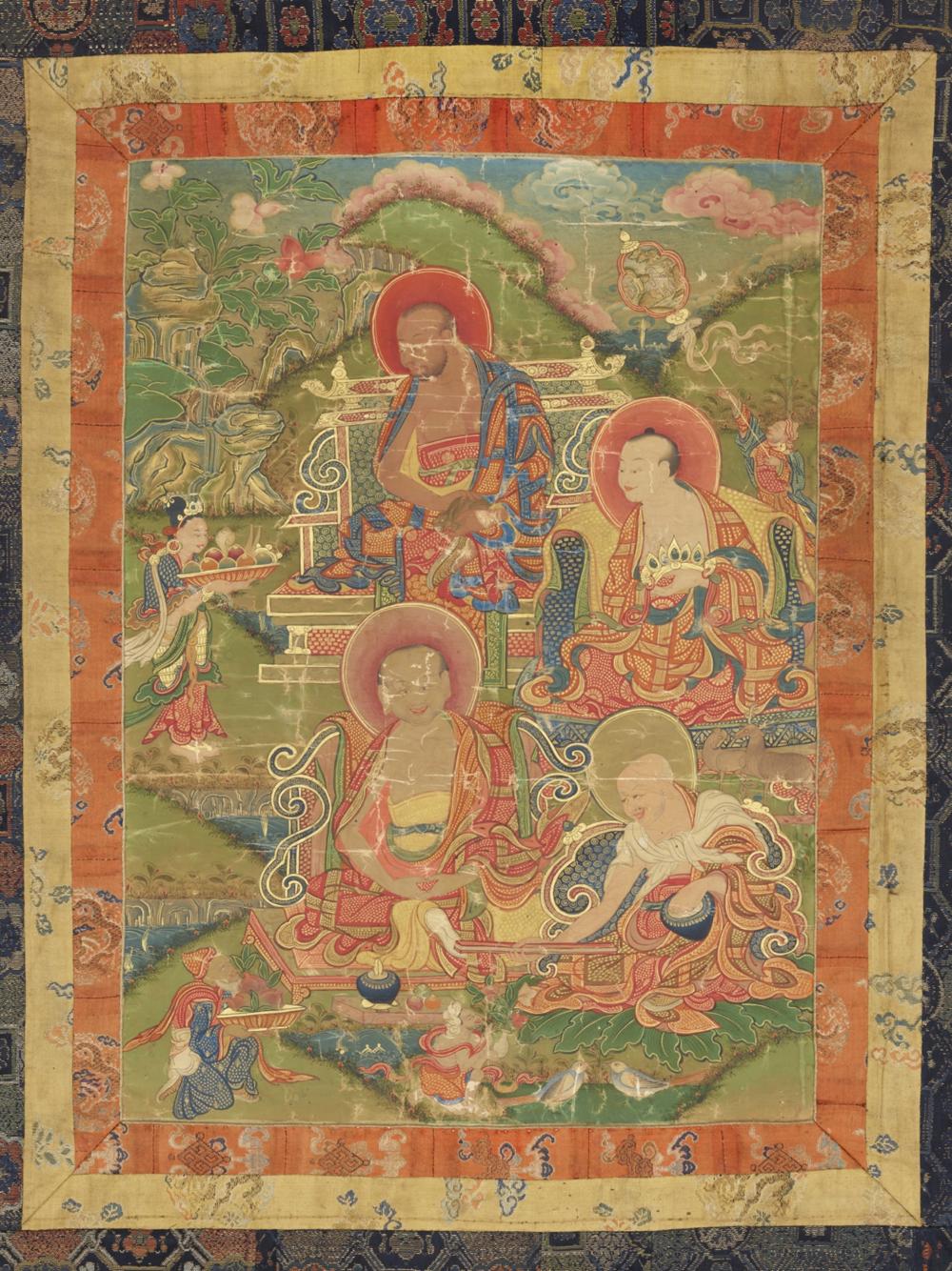 Die Arhats Bakula, Rahula, Cudapanthaka und Pindola  Aus einer Serie von 7 Thangkas mit Buddha Shakyamuni und den 18 Arhats