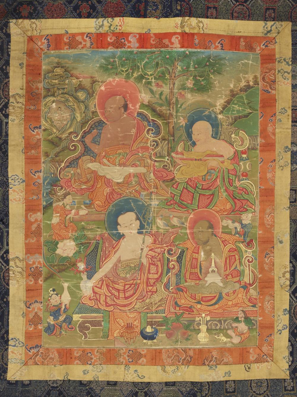 Die Arhats Panthaka, Gopaka, Nagasena und Abheda  Aus einer Serie von 7 Thangkas mit Buddha Shakyamuni und den 18 Arhats