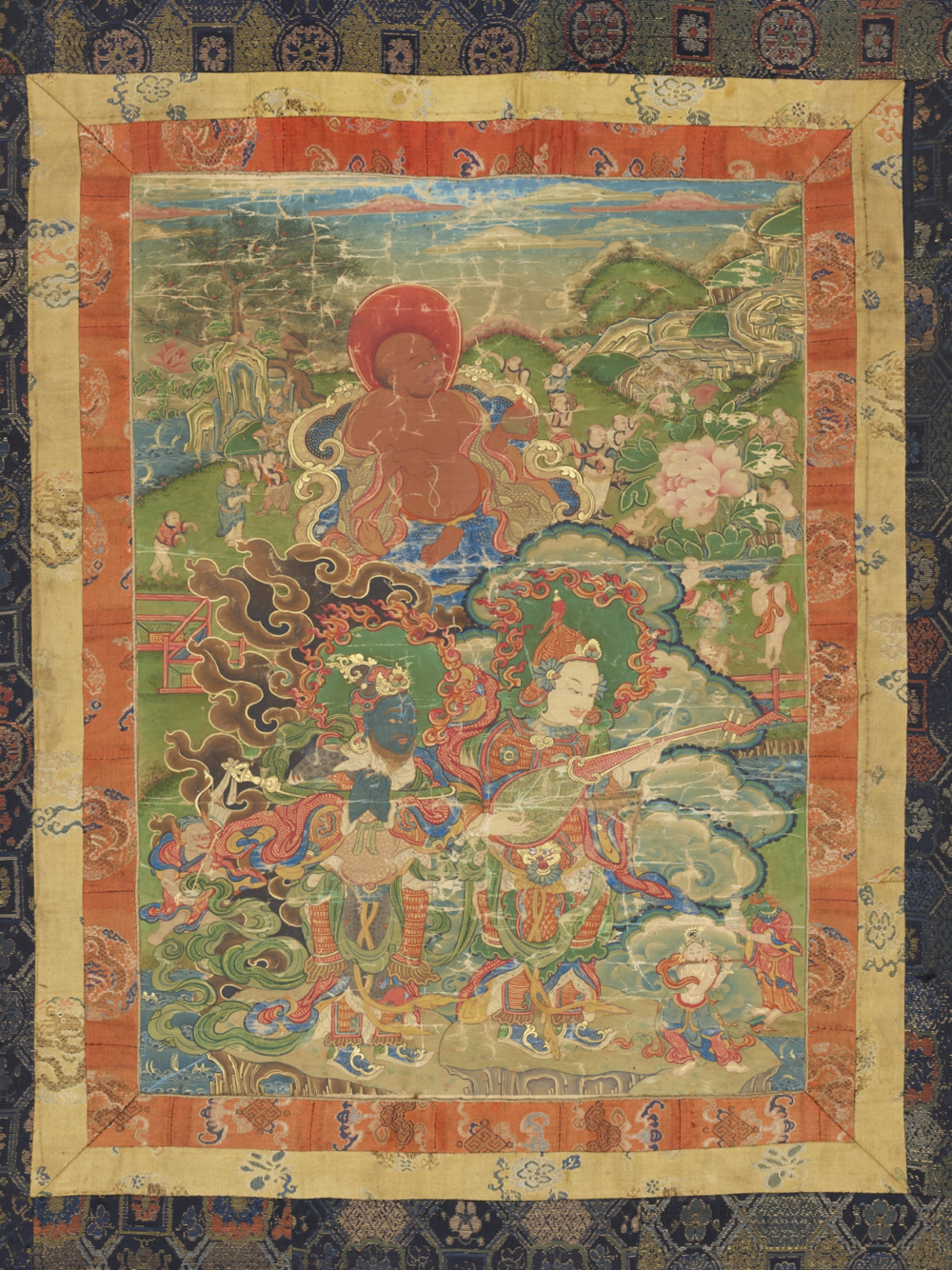 Der Laienanhänger Huasheng und zwei Lokapalas  Aus einer Serie von 7 Thangkas mit Buddha Shakyamuni und den 18 Arhats