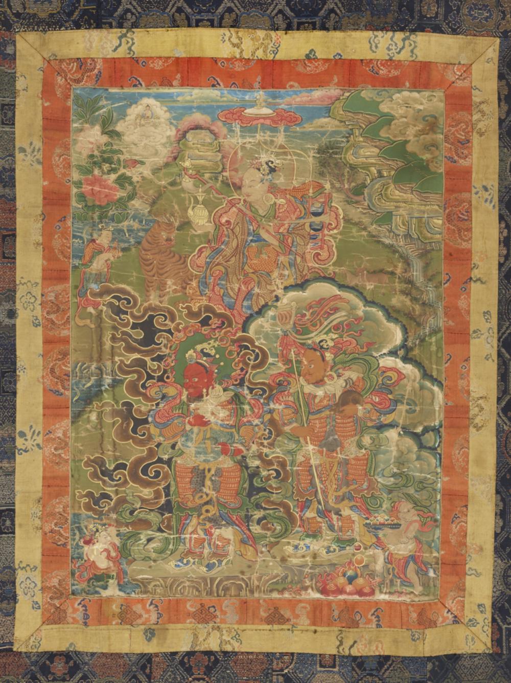 Dharmatala und zwei Lokapalas  Aus einer Serie von 7 Thangkas mit Buddha Shakyamuni und den 18 Arhats