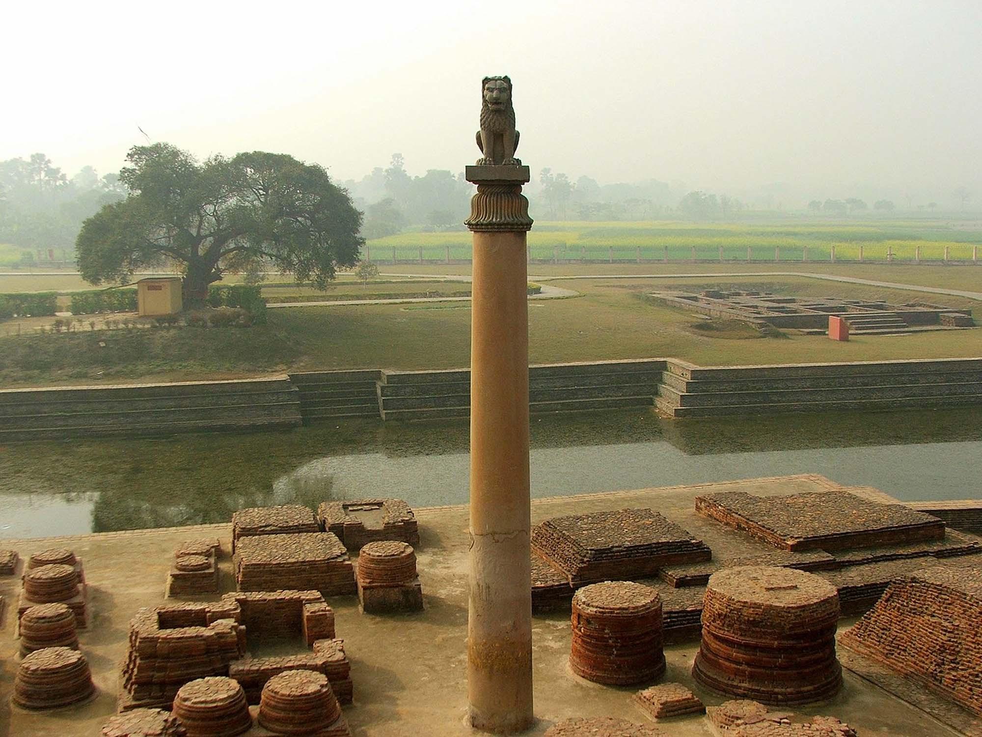 Pillar with inscription of Ashoka, Vaishali, India