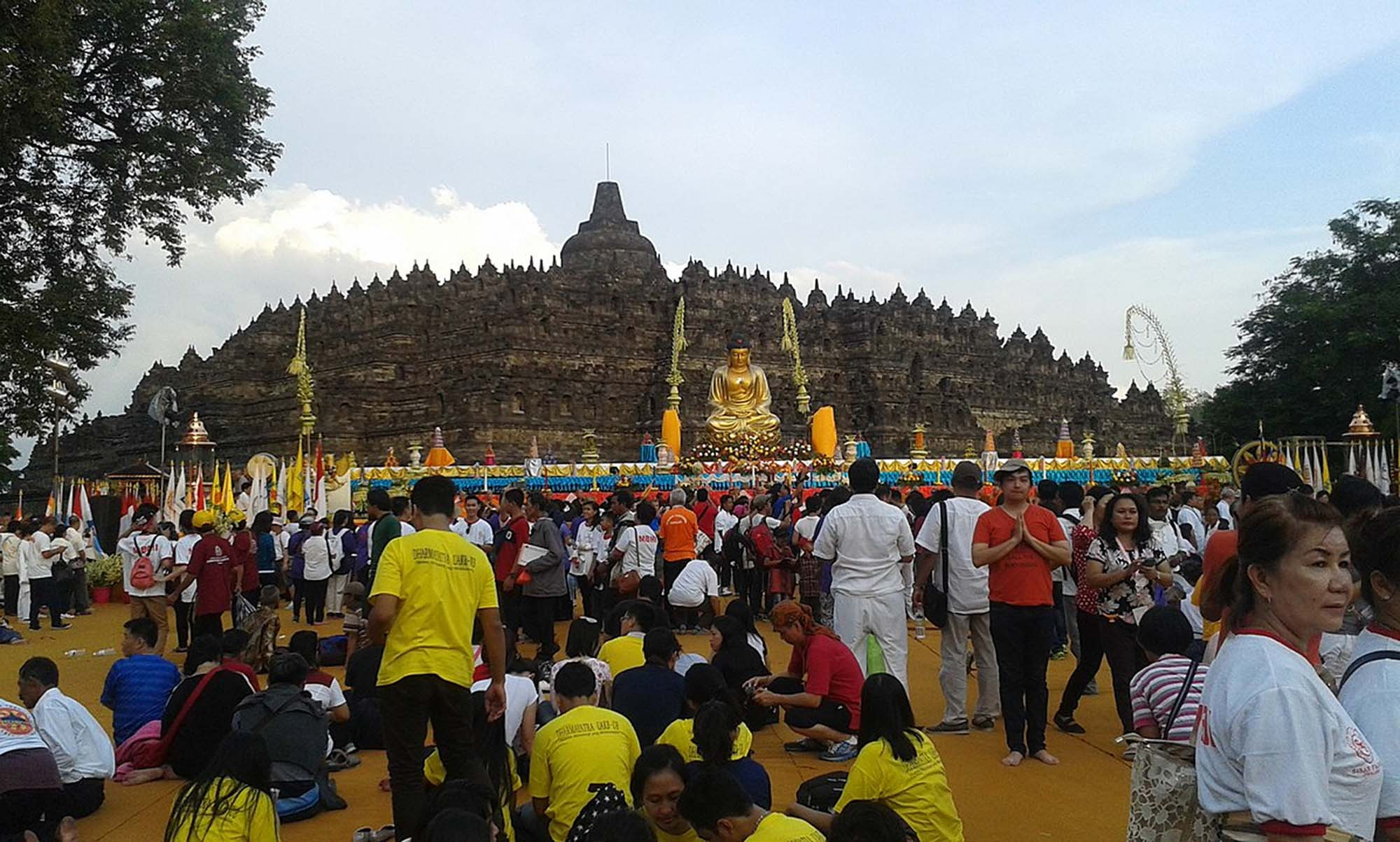 Temple on Vesak day, Borobodur, Indonesia, 2015