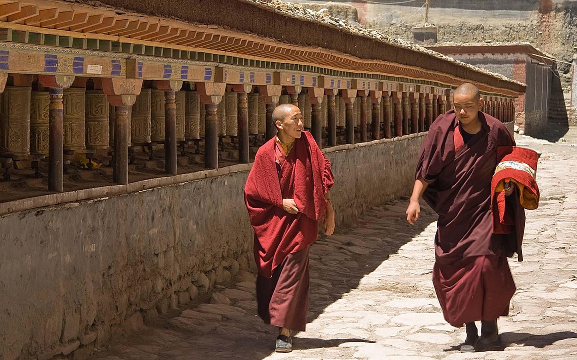 Monks in the Sakya monastery, Tibet