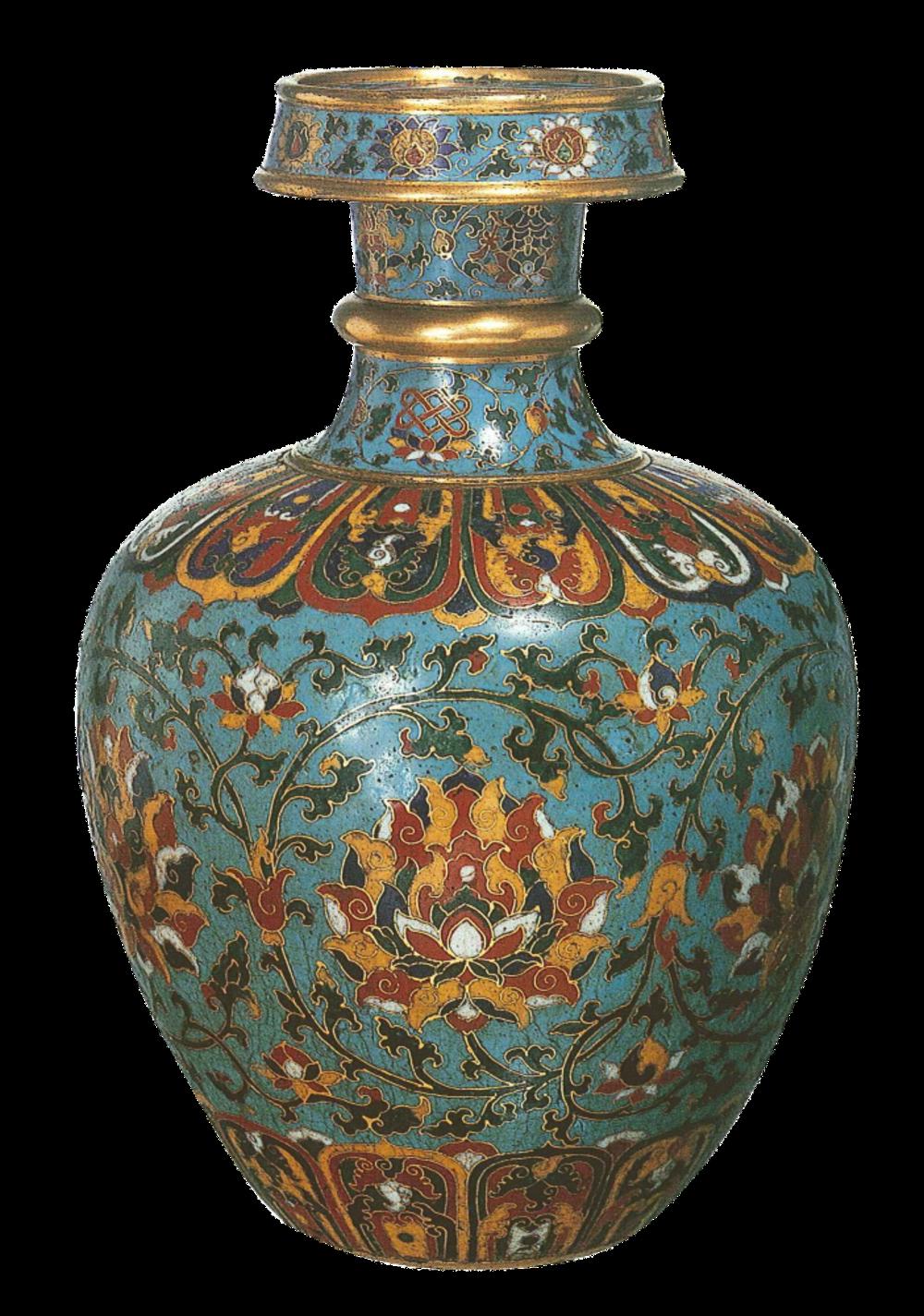 Vase mit Lotosranken und den acht buddhistischen Glückszeichen
