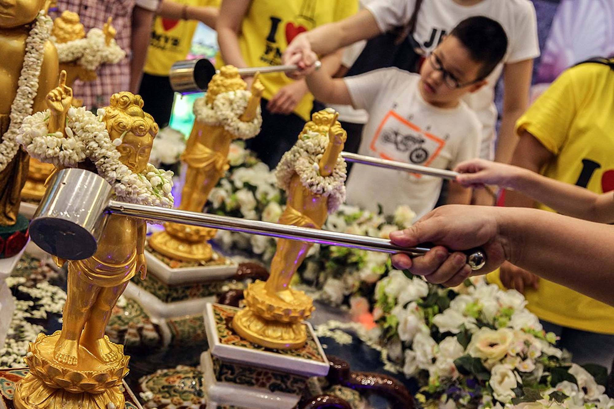 Ritual cleansing of Buddha statues in Indonesia, Indonesia